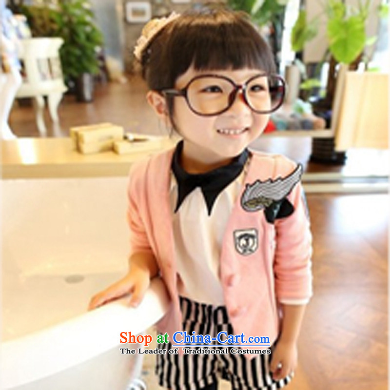 The autumn 2015 girls with new girls small jacket girls suit your baby powder Dragonfly140
