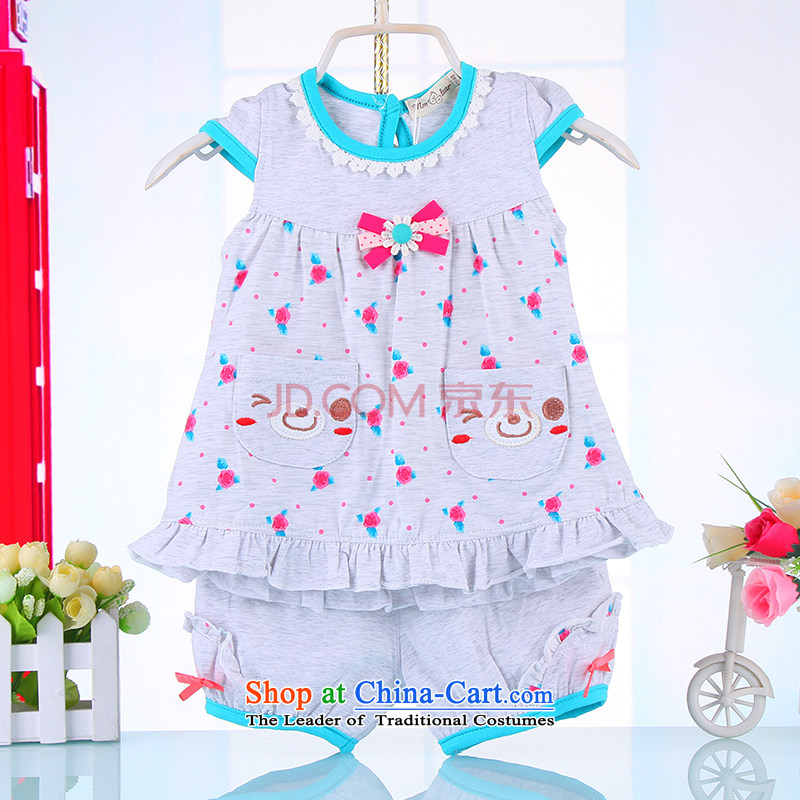 The 2015 summer children's wear new 2-year-old girl 3 baby short-sleeved compassionate package 5 girls Korean Summer Thin Layer Shirt + 74442100 gray shorts