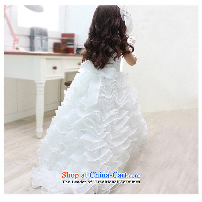 M High State Children's tail wedding dress girls dovetail princess skirt Flower Girls will bon bon skirt long white autumn 1230 White 100