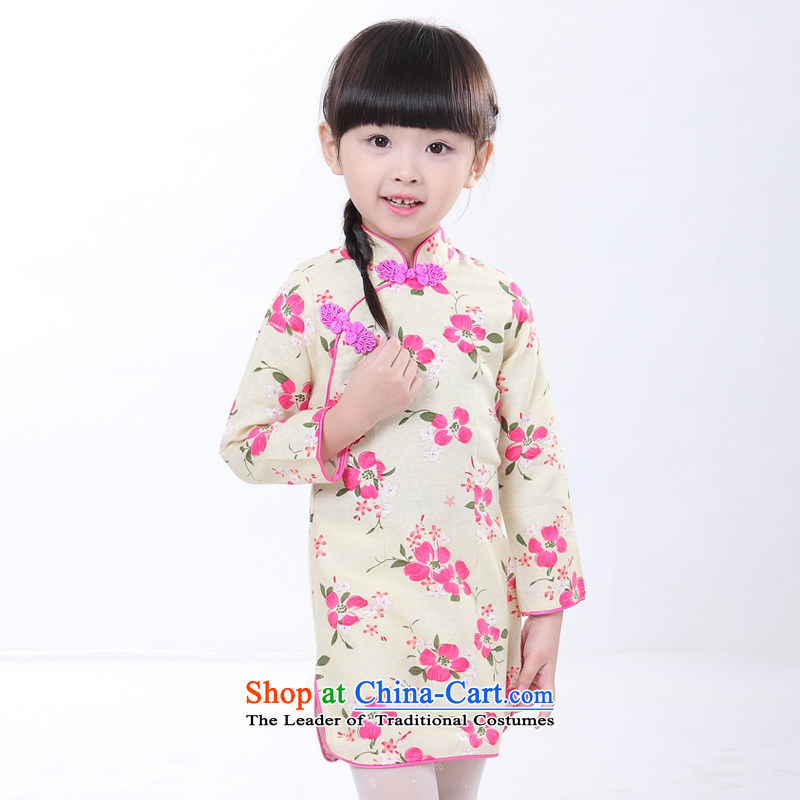 2015 children's wear ethnic girls QIPAO_ children fall short of small and medium-sized child cheongsam dress with parent-child load map color 6 130
