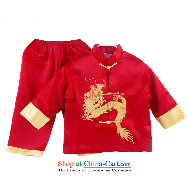 During the spring and autumn embroidery children Tang dynasty boy long-sleeved clothing ethnic baby birthday with Chinese show Red 90