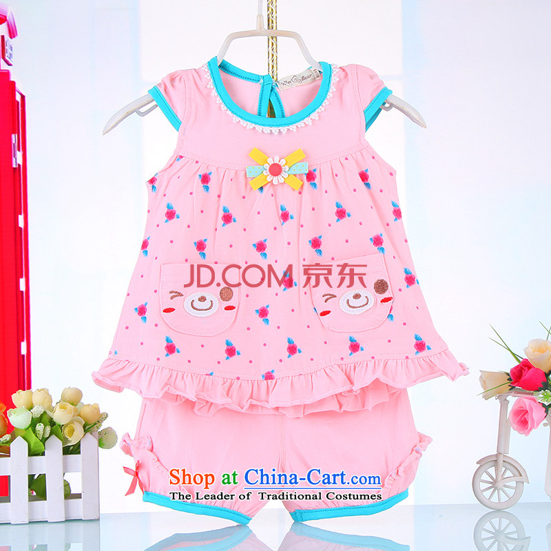The 2015 summer children's wear new 2-year-old girl 3 baby short-sleeved compassionate package 5 girls Korean Summer Thin Layer Shirt + shorts 74442 100