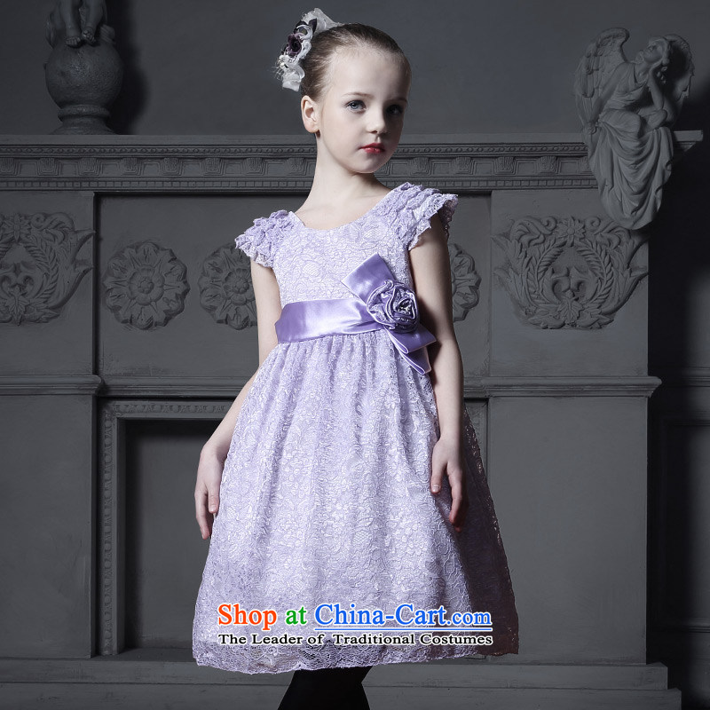 Love of Ko Yo Girl lace princess skirt flower girl children dress wedding dress skirt bon bon skirt costumes Light Violet 130
