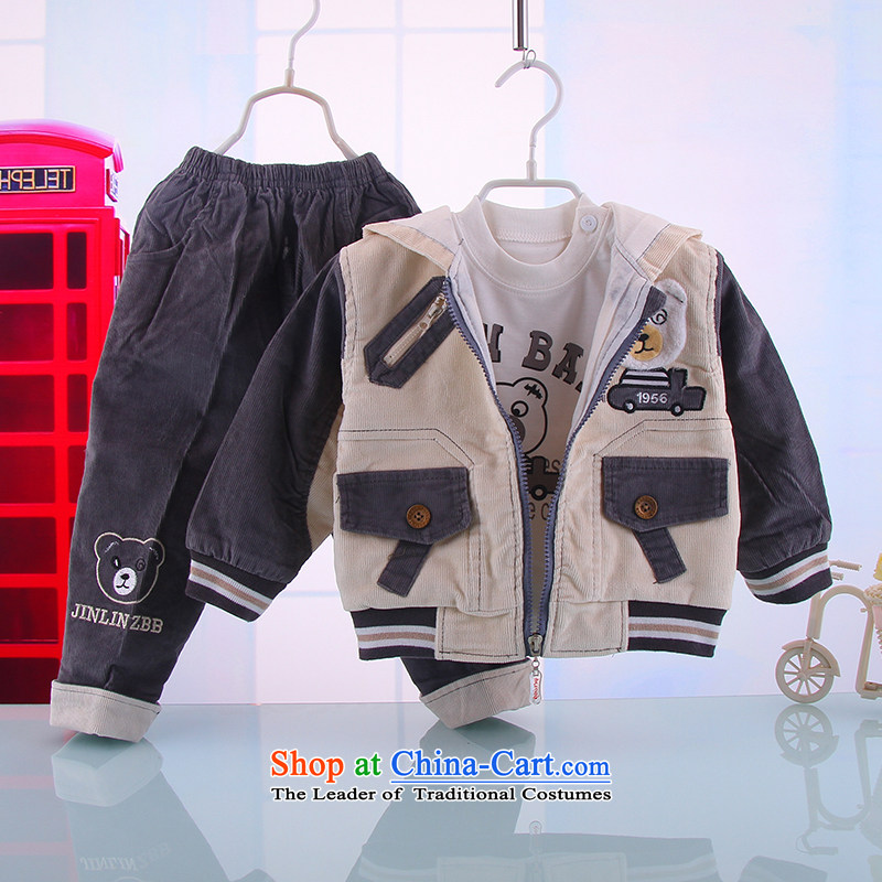 New Spring and Autumn and baby out serving a three-piece boy baby fall out of your baby boy to 3432nd clothing Light Gray 80