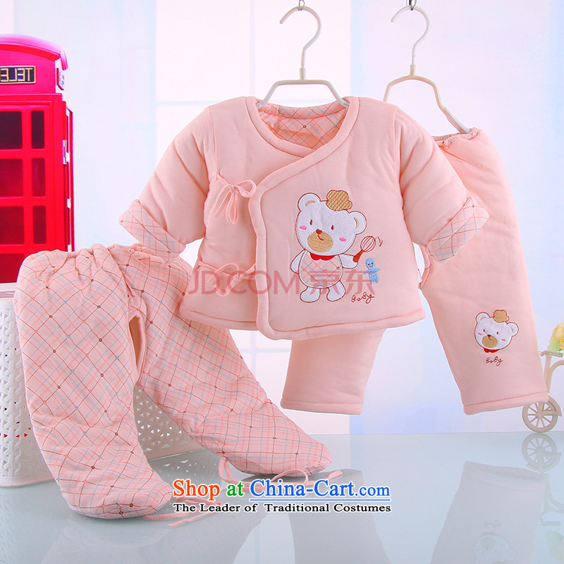 The new long-sleeved baby winter warm cotton serving a three-piece infant baby cotton coat kit baby package 4882nd pink 110