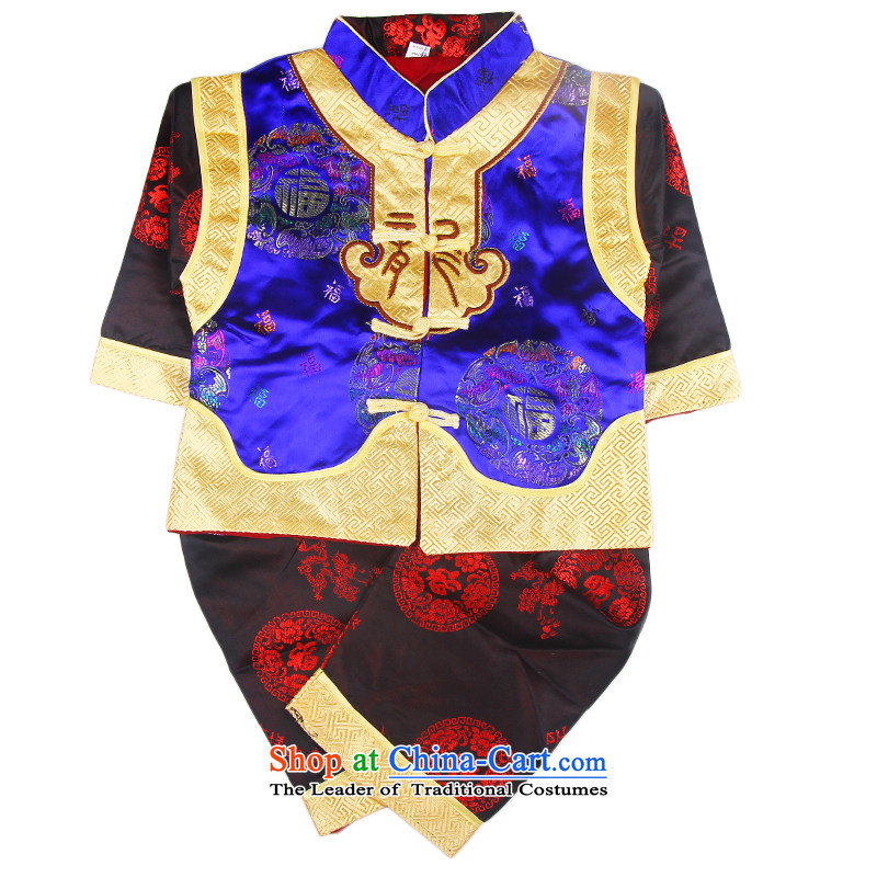 The age of the Spring and Autumn Moon Tang Dynasty Package serving girls dress infant boys Chinese children happy baby Tang Blue 80