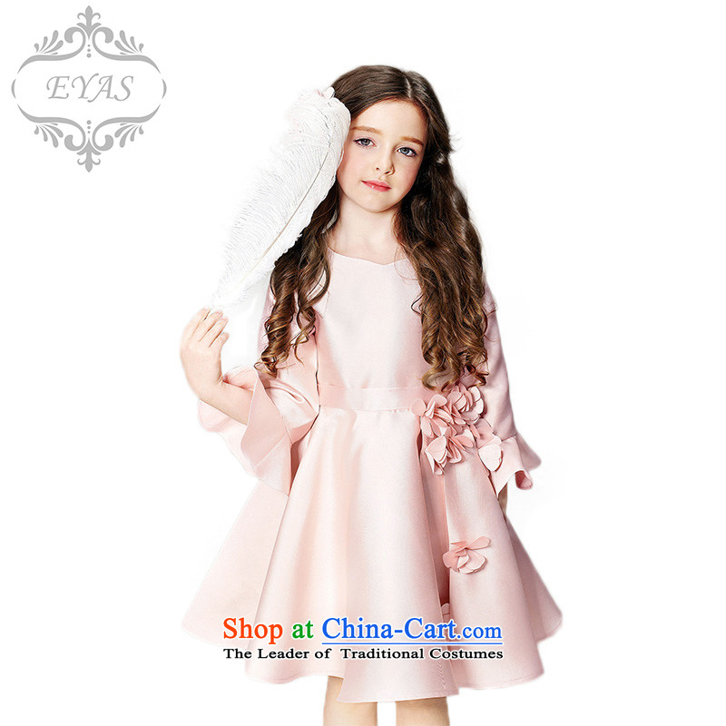 Eyas girls dress skirt long-sleeved children fall/winter Princess skirt girls evening dresses wedding dress Flower Girls skirt Pink Pink dresses 140