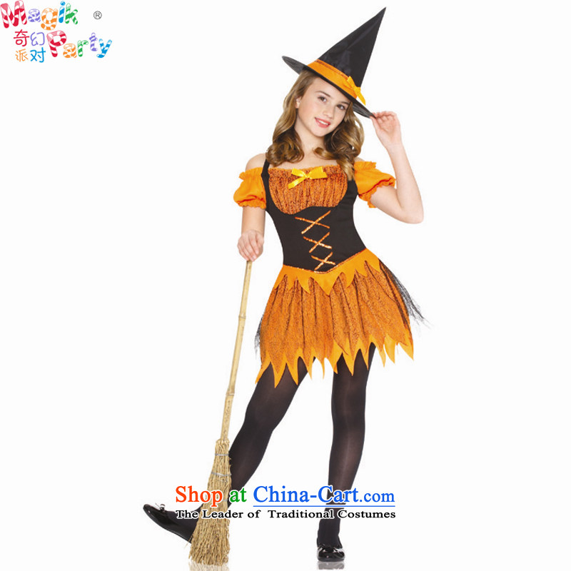 Fantasy to send girls Halloween costume kindergarten school performance apparel orange witch skirt witch dresses orange witch skirt聽130cm