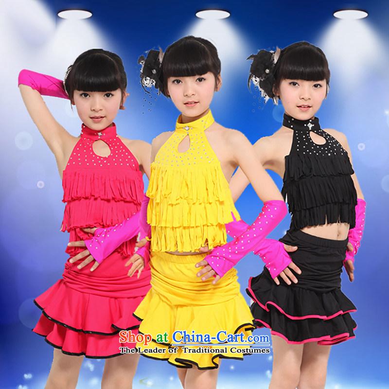 Children Latin dance wearing the new girls children Latin dance wearing edging Latin Dancing girl children聽TZ1002-0019 skirt聽rose聽150