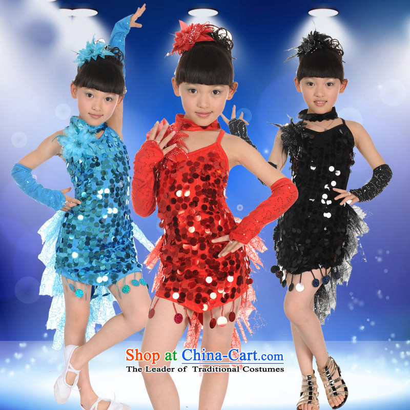 Children TZ1002-0020 Latin dance wearing bright girl chip Latin dance skirt Shao Er Latin dance performances to girls show services serving the blue 120 Game