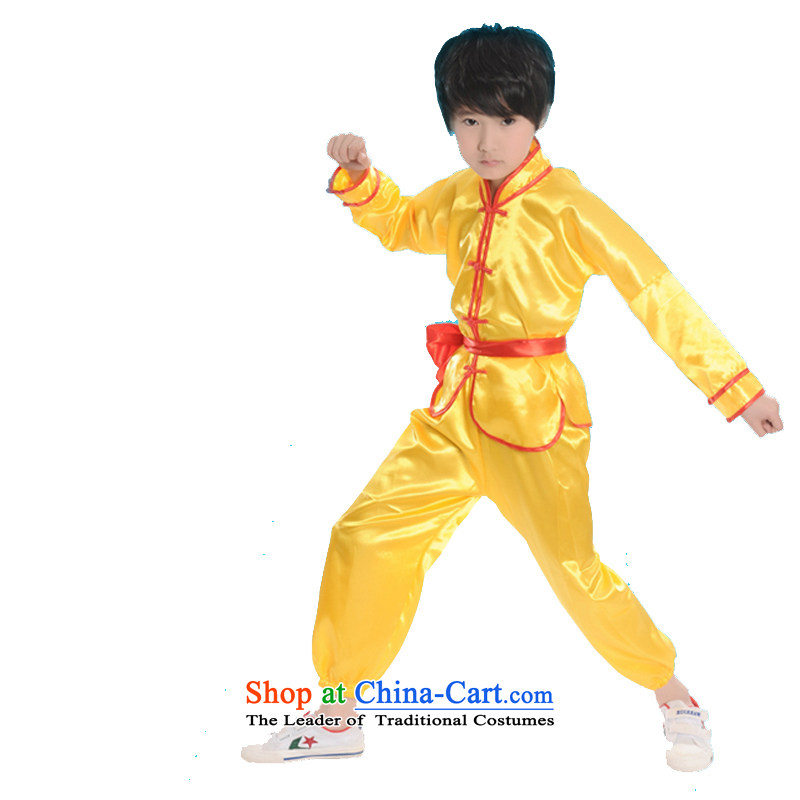The boy child martial arts performance service kit for children's dance wearing uniforms of Kung Fu Show shirt taijiquan services practice suits聽TZ1002-0022聽yellow聽130