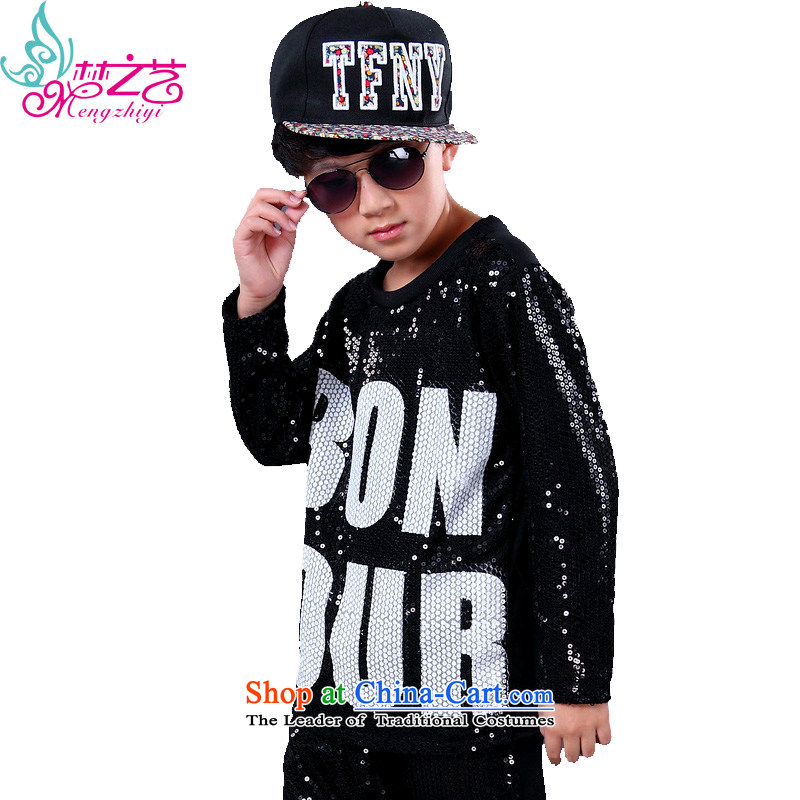 Children will jazz dance hip hop dance services boys hip hop dance on the street, serving hip-hop film costumes and girls black T-shirt hangtags 150-160cm suitable for 160