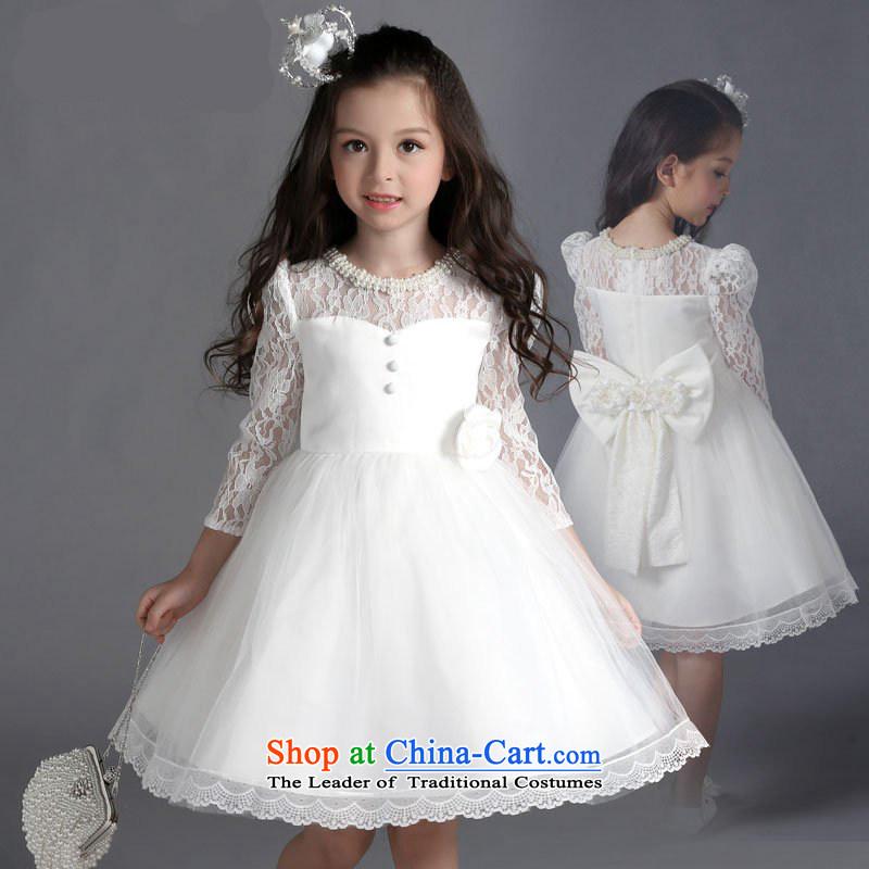 M high autumn 2015) Children Pong dress girls princess skirt wedding dress long-sleeved lace dress white wedding dress piano children will dress White150