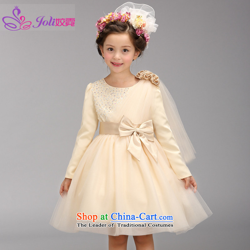 Each Ngai girls princess skirt dress skirt flower girl will dress snow white dress clothes dress Flower Girls female champagne color 150