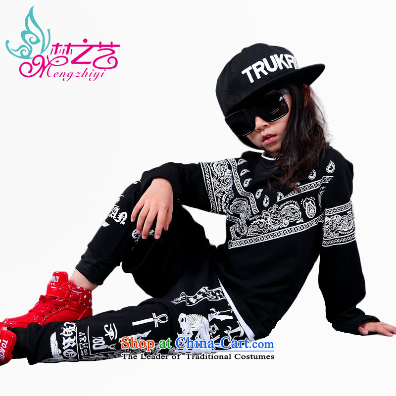Children will jazz dance hip hop dance services boys hip hop dance on the street, serving hip-hop film costumes and girls t-shirt + pants hangtags 140-150cm suitable for 150