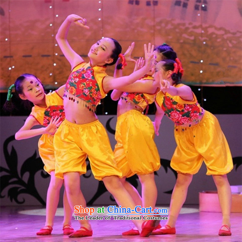 The new child primary school students will costumes and girls dancing wearing Shao Er Yangko Dance Stage Costume Yellow聽90cm made
