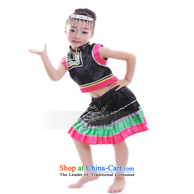Children will stage costume of Ethnic Dances Miao Yi 61 children clothing will girls Black聽140