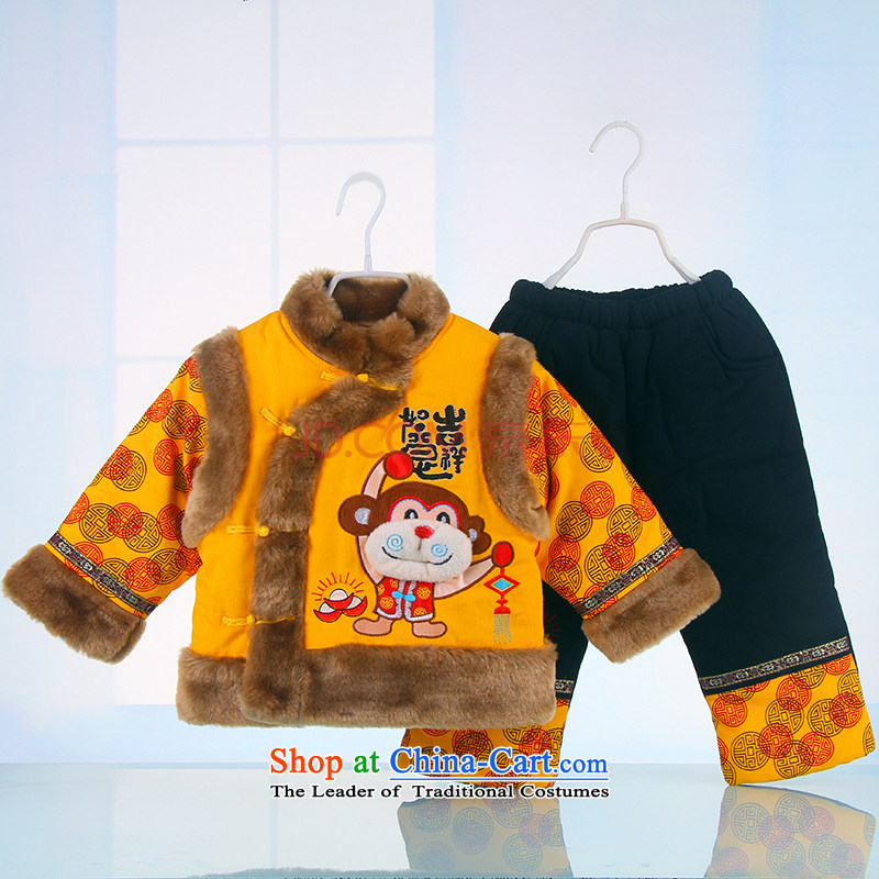 Bunnies Dordoi New Year Children Tang dynasty winter clothing boys aged 1-3 goodies baby coat of children's wear kid baby coat Tang dynasty yellow 110