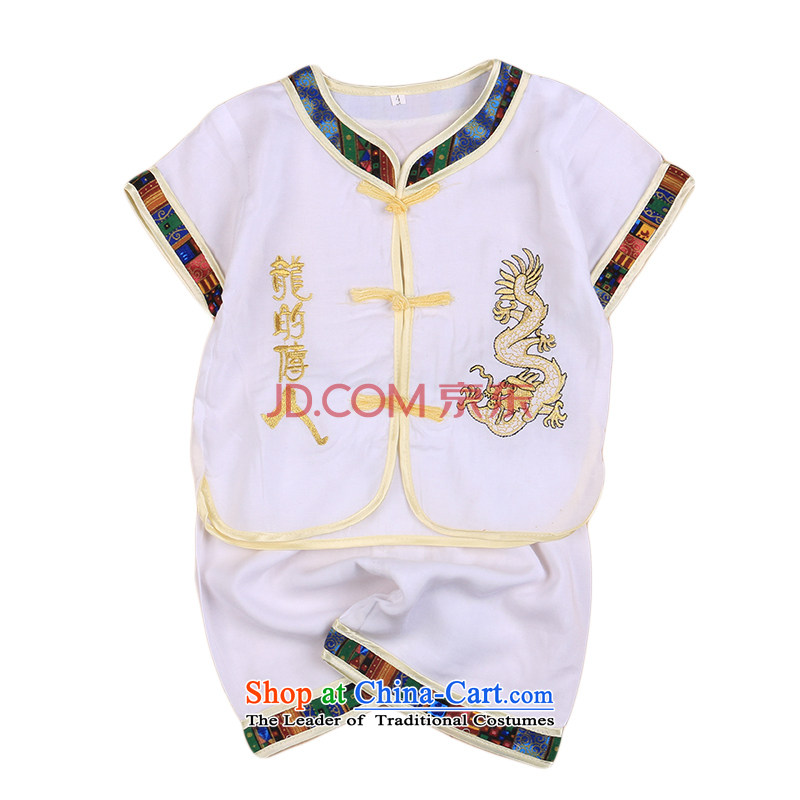 Small and more new 2015 Children Tang Dynasty Chinese baby pure cotton linen stylish Tang dynasty boy short-sleeved Tang casual ethnic summer White 100