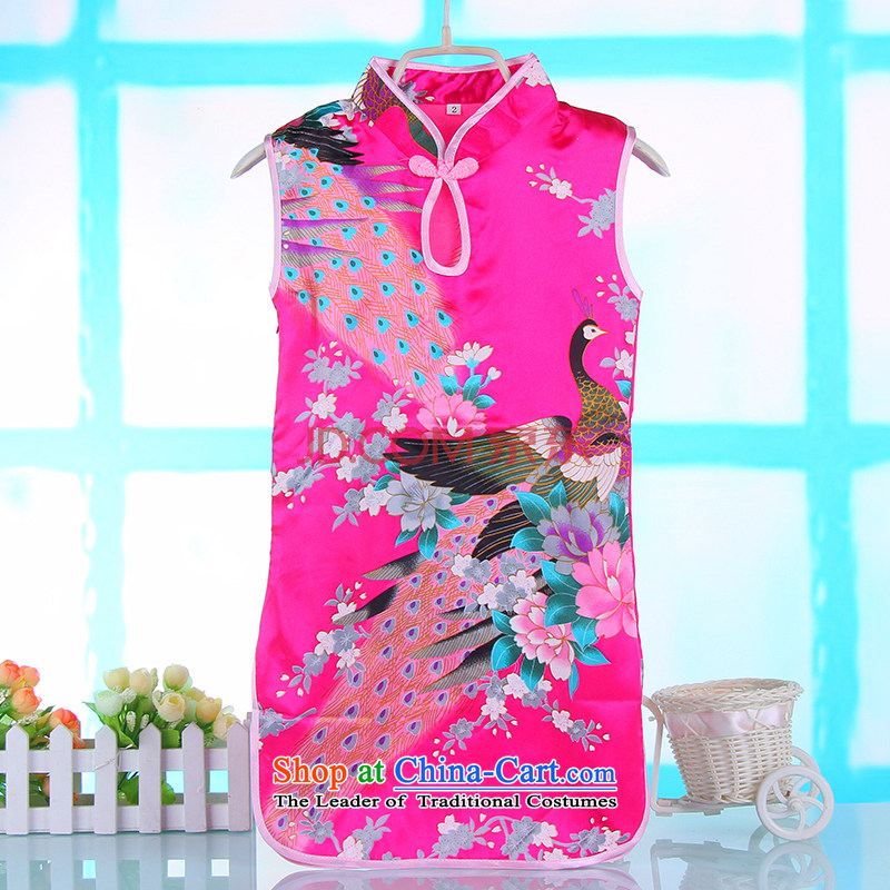 In the summer the new girls cheongsam dress your baby children's wear skirts of children's entertainment services Silk Cheongsam Peacock Tang dynasty rose 110
