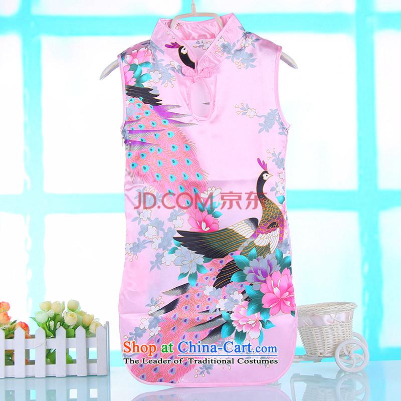 Summer girls qipao Tang dynasty cheongsam dress children girls pure cotton dress guzheng will purple Lotus Pink dress Princess 90