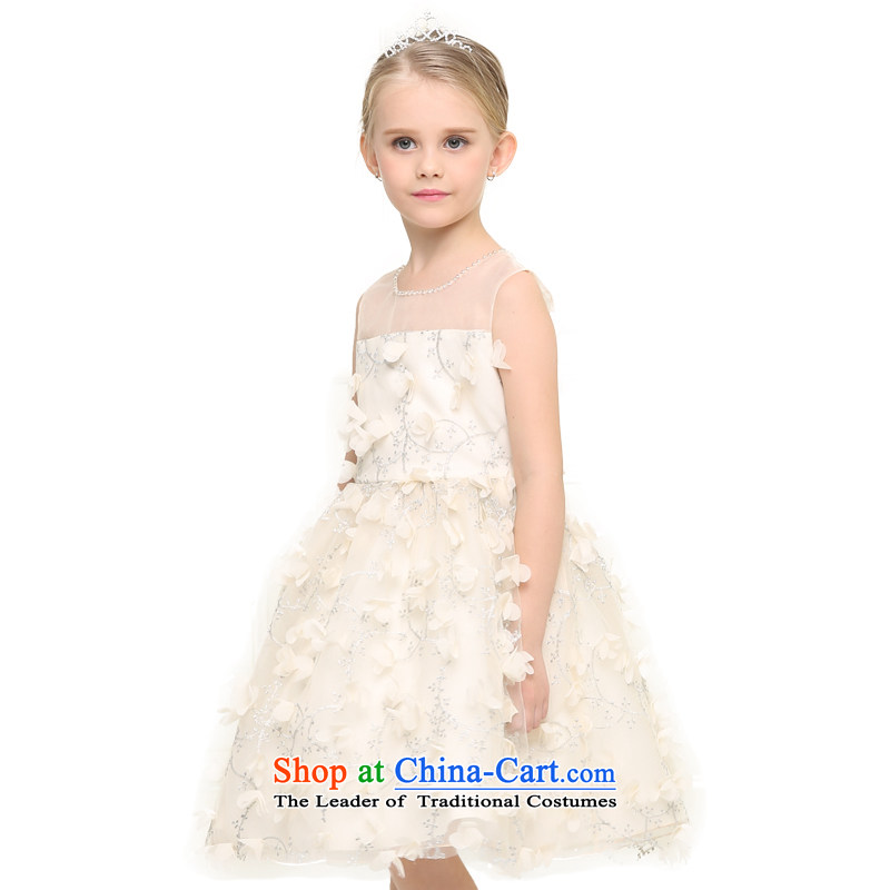 In accordance with the girl child friendly picking princess skirt dress girls dresses upscale manually children Princess Pearl of the nails skirt will round-neck collar chiffon petals wedding dress apricot color?160