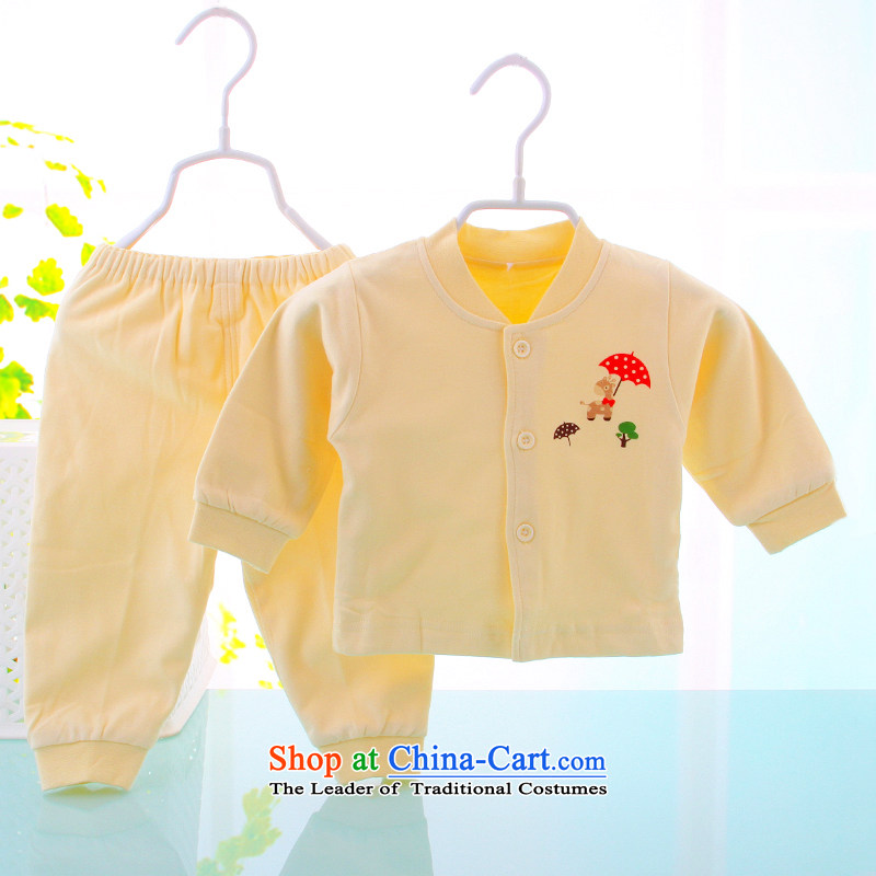 Infant jumpsuits two kit installed during the spring and autumn 0-1 year old men and women baby clothes half yellow 59cm Pure Cotton