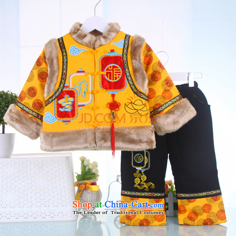 2015 New Tang Dynasty Chinese New Year Service children qipao baby coat kit men and women Bonfrere looked as casual age dresses robe 1-7 years yellow 120