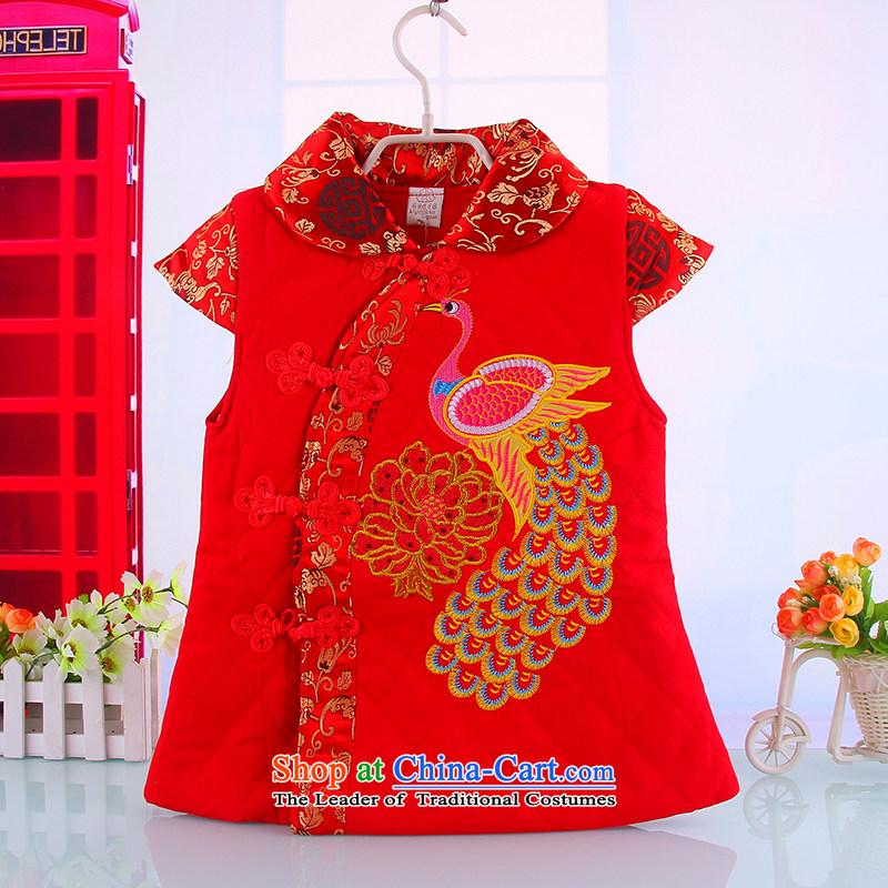 The new clip cotton girls qipao BABY CHILDREN Tang dynasty princess cheongsam dress New Year skirt winter winter clothing Red100