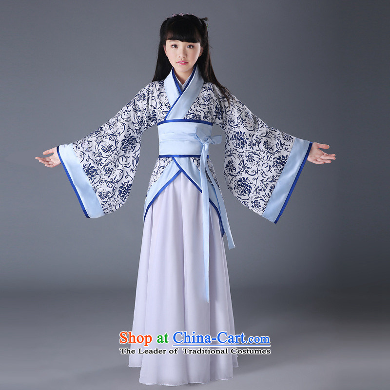 The new children's classical performances Han-Photographic Dress seven fairy boy princess skirt guzheng blue B) Will 140