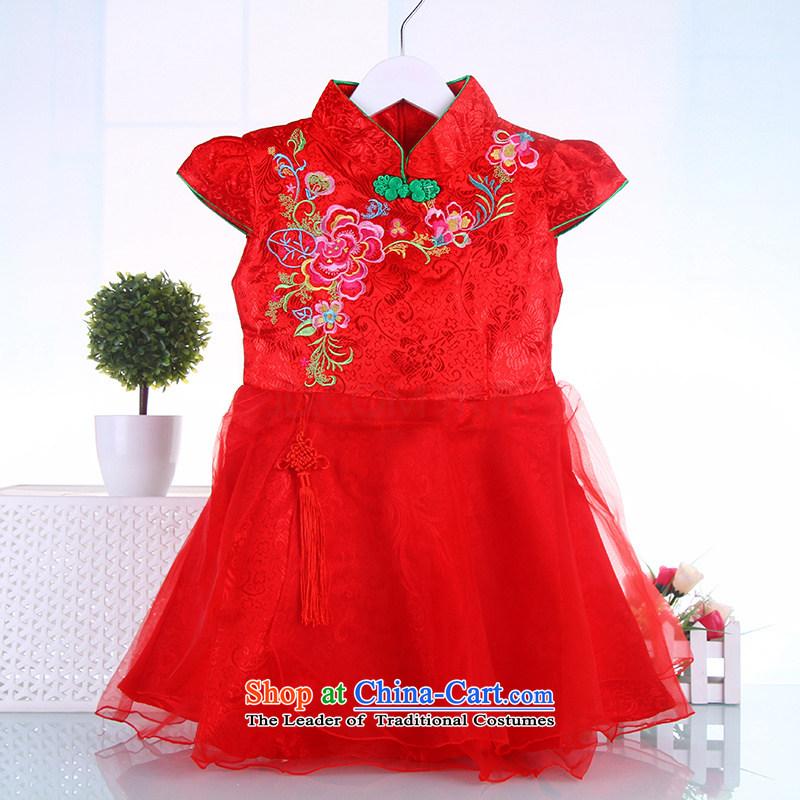 Children qipao girls Tang dynasty dresses ethnic pure cotton small girls Da Tong Zheng costumes Red聽130