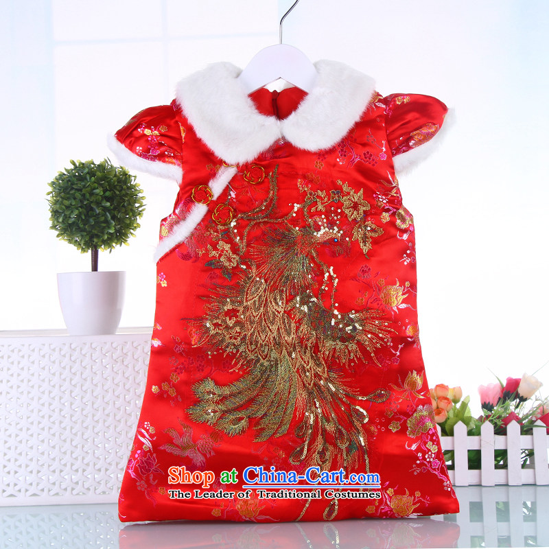 Tang Dynasty children by the year 2015 with the new year of autumn and winter clothes national costumes girls clip cotton robe cheongsam dress Red 120