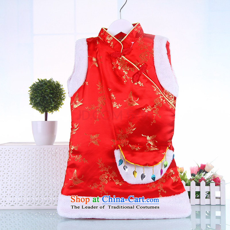 Tang Dynasty children 2015 winter new girls children Chinese New Year celebration for the gown baby replacing cheongsam dress 2-6-year-old Red聽130