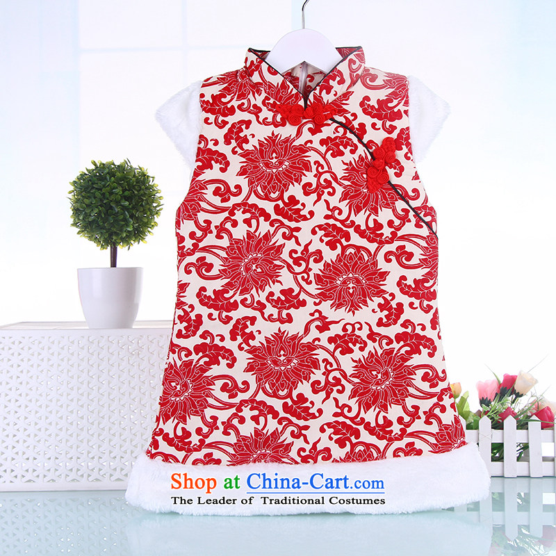 2015 WINTER new child Tang dynasty girls Tang dynasty cheongsam dress suit your baby girl new year-old infant dresses Red 110