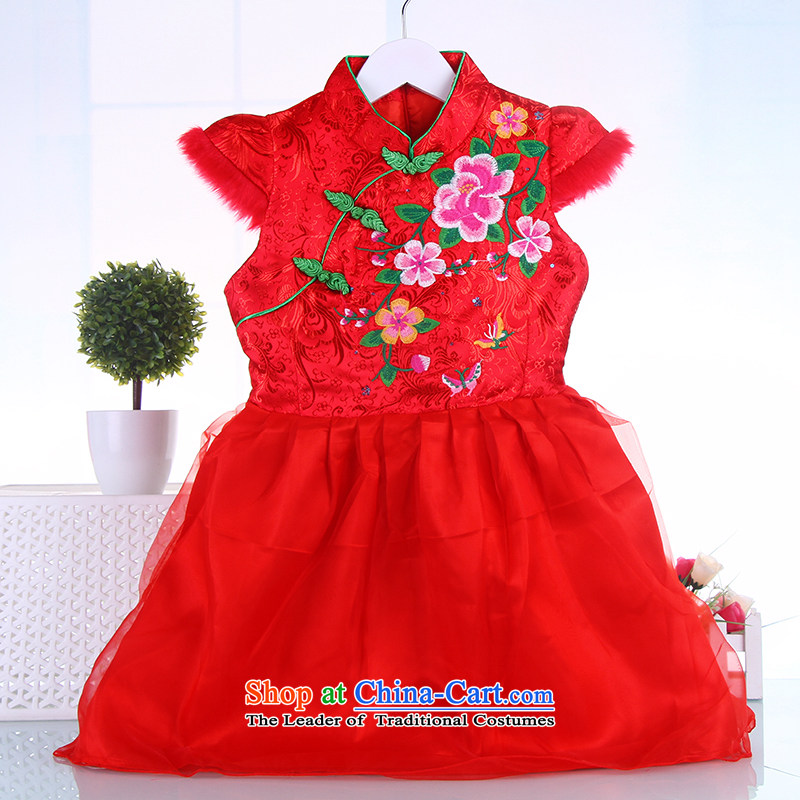 The girl child skirts autumn and winter cheongsam dress infant baby princess dress skirts national performances Tang Red 150