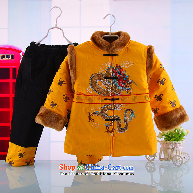 Winter clothing new boys Double Dragon pattern New Year's rompers children Tang Dynasty Baby package聽1-7 years red聽100