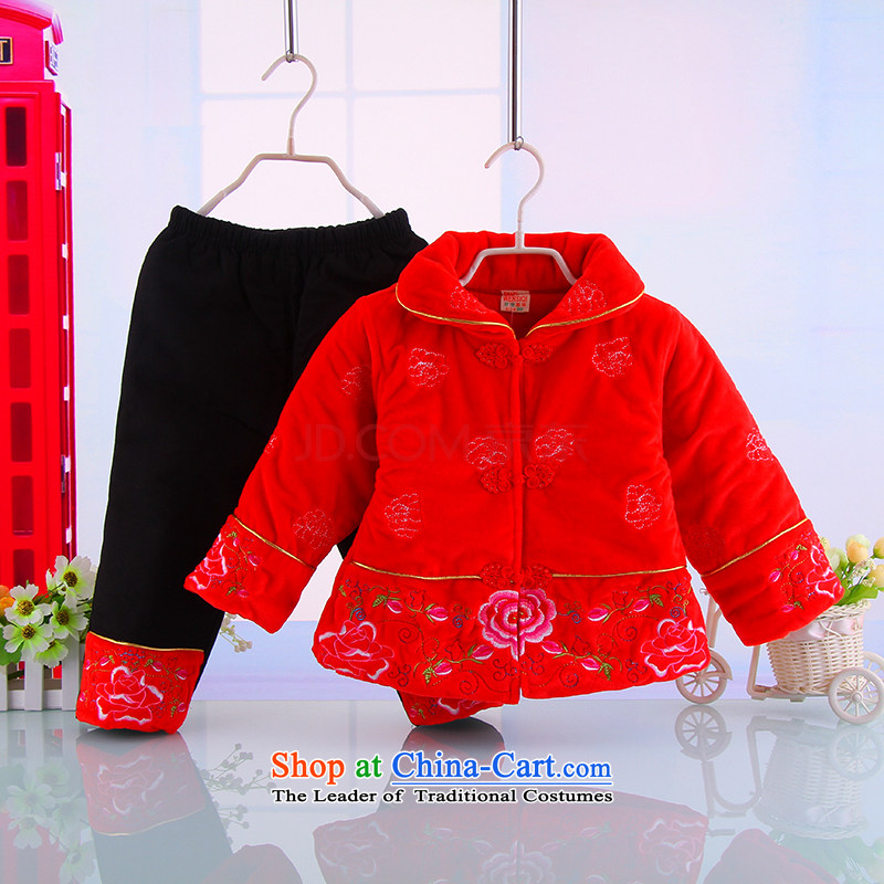 The girl children's wear winter Tang dynasty thick cotton clothes female babies winter) Kit Full Moon Birthday Red 100