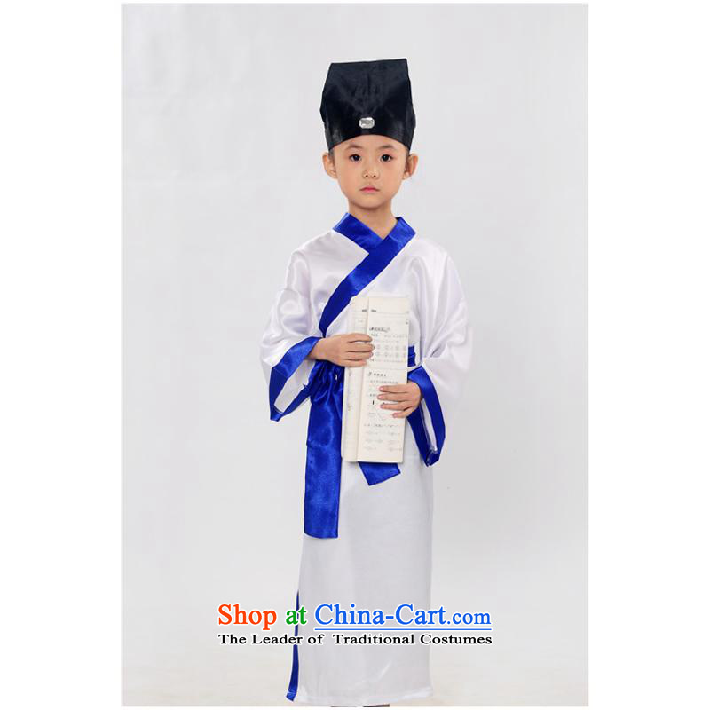 Ancient Han-stage performances floor serving children photography clothing ancient scholars costume Liang Zhu wets the deep blue聽150cm