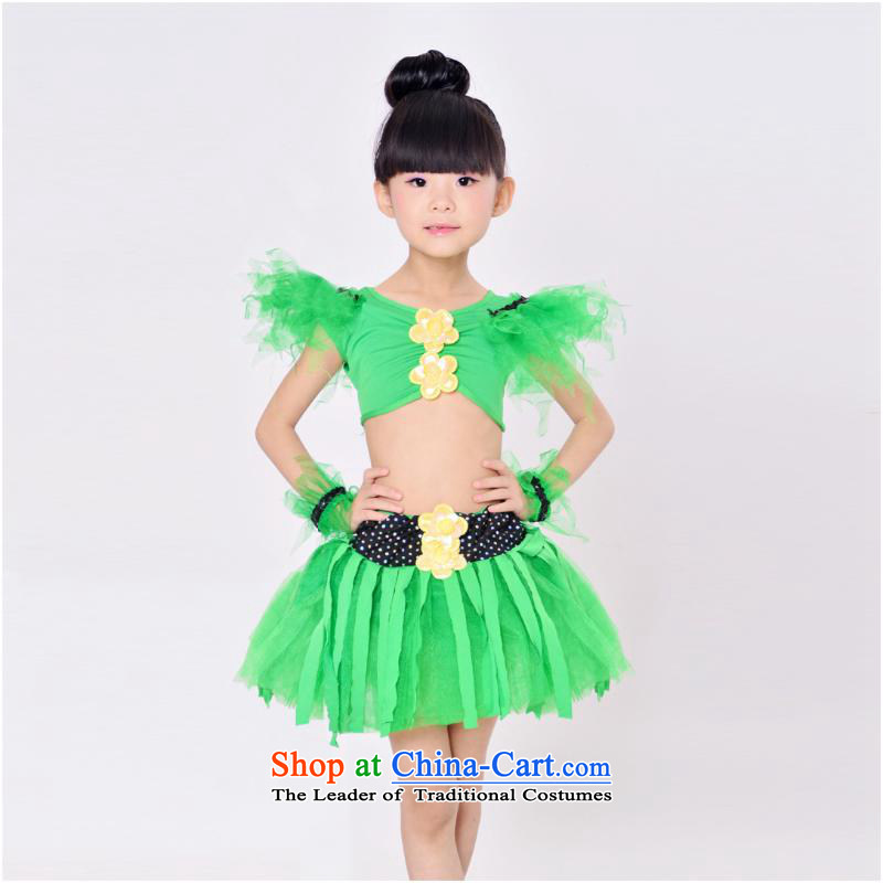 The new children's dance children serving Latin dance show services on-chip-Latin dance skirt girls costumes and Green130