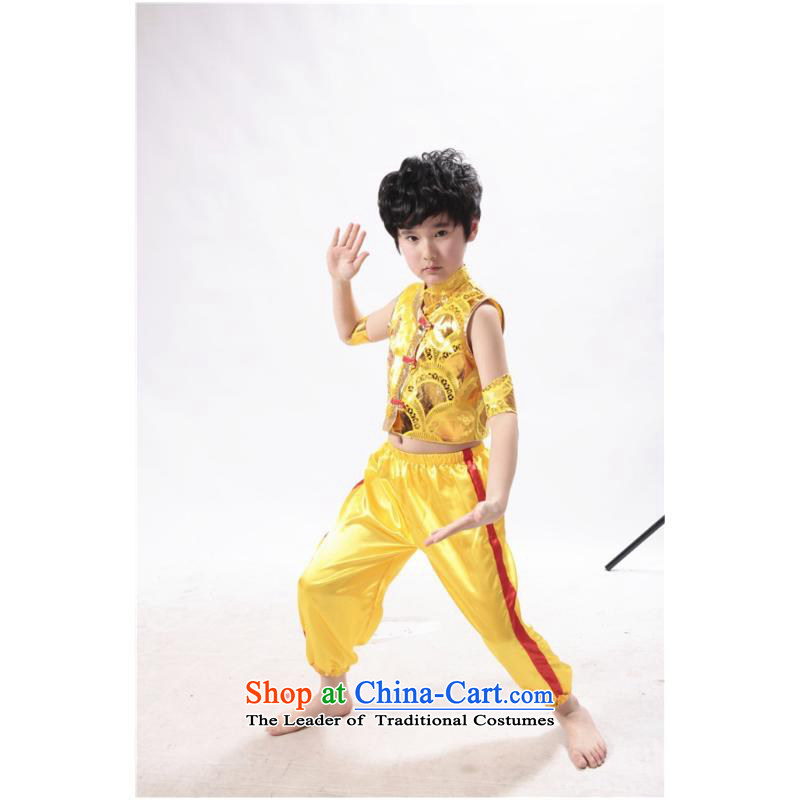 Children on chip martial arts service stamp Jackie Chan's kung fu kit kit for boys and girls martial arts performance services kung fu Kit Yellow 150cm