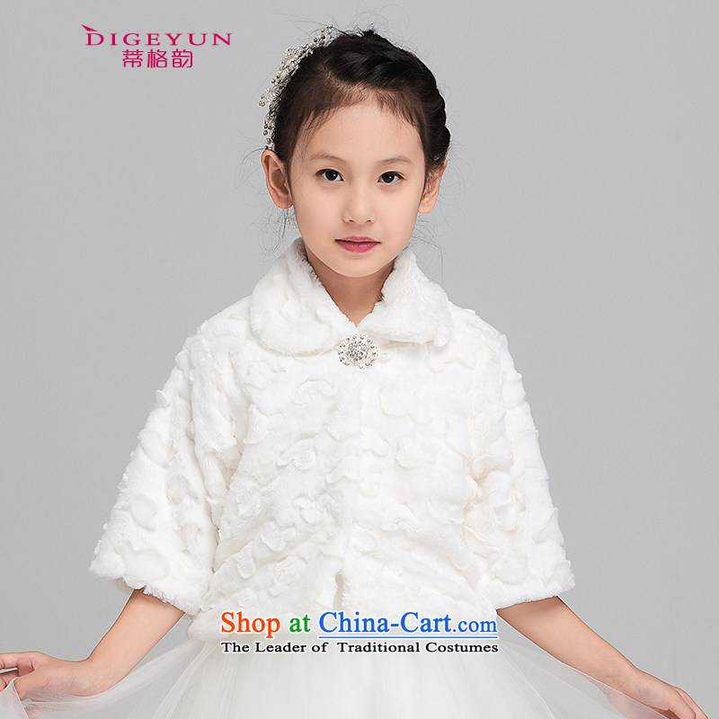 The following new children's gross shawl thick Korean children dress shawl Flower Girls, a winter), a white dress 140 L aged 9-12