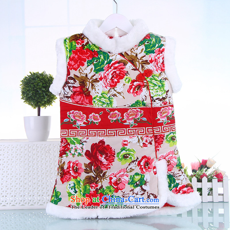 Tang Dynasty girls cheongsam dress China wind load new year celebration for the baby with the Spring and Autumn Chinese baby dresses Red 100