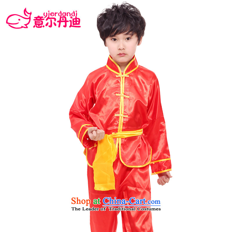 Dandi Children's intention to exercise clothing martial arts performances services for boys and girls will long-sleeved costumes and Kung Fu Tai Chi services services of Chinese kung fu clothing Red聽170
