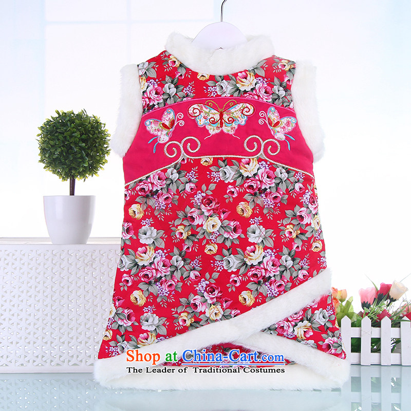 Children qipao autumn and winter girls aged 1-2-3-4-5 Tang Dynasty to dress New Year folder of your baby cotton dress Red聽80