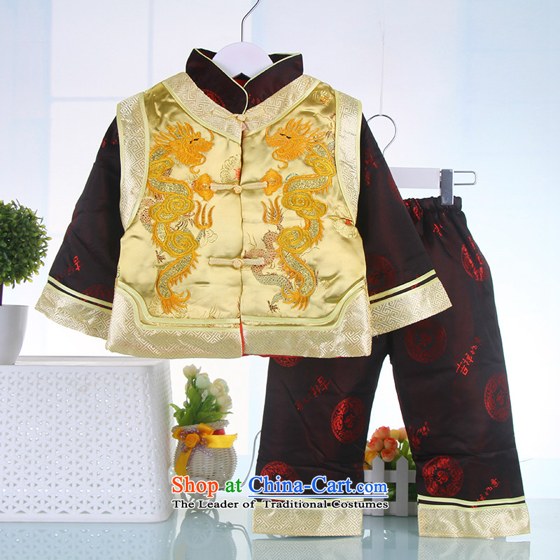 Children Tang dynasty silk cotton winter clothing China wind load New Year Tang dynasty children age birthday dress yellow 100