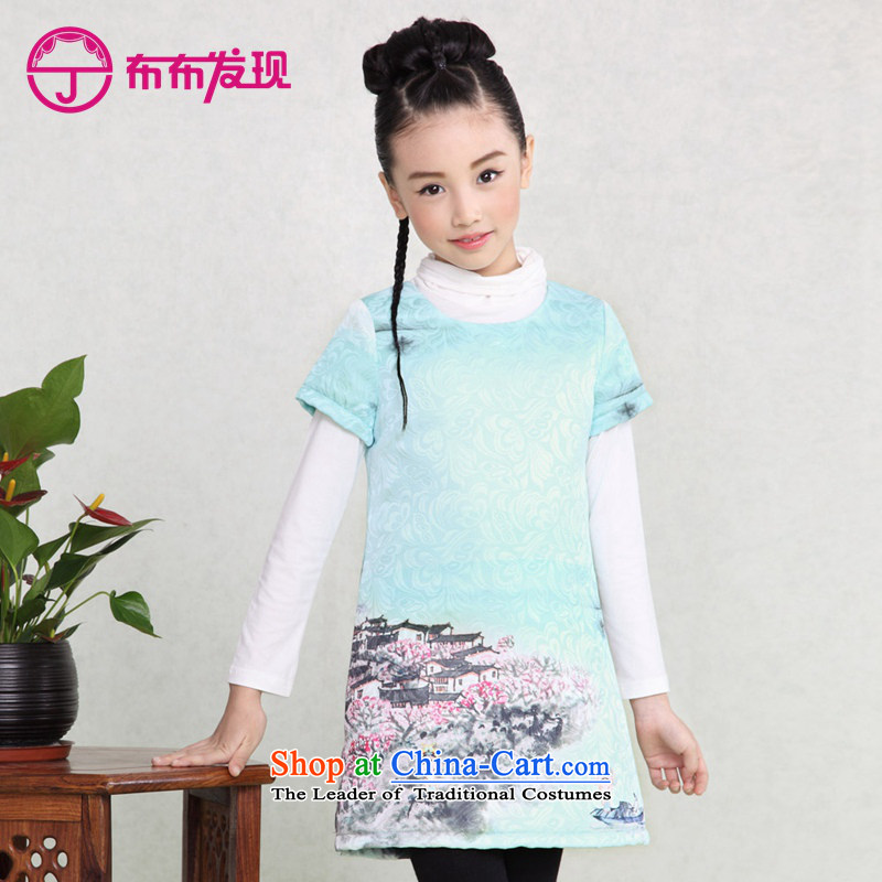 The Burkina found 2015 children's wear girls qipao cotton waffle robes children folder skirt CUHK child Tang dynasty China wind girls dresses thick 34505490 light blue pre-sale 160 code