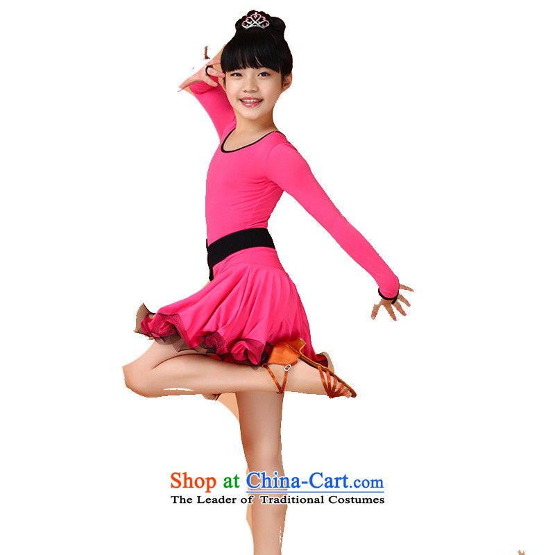 Adjustable leather case package long-sleeved girls Latin dance skirt spring and summer children serving Latin dance competition long-sleeved girls exercise clothing to level the red 130cm