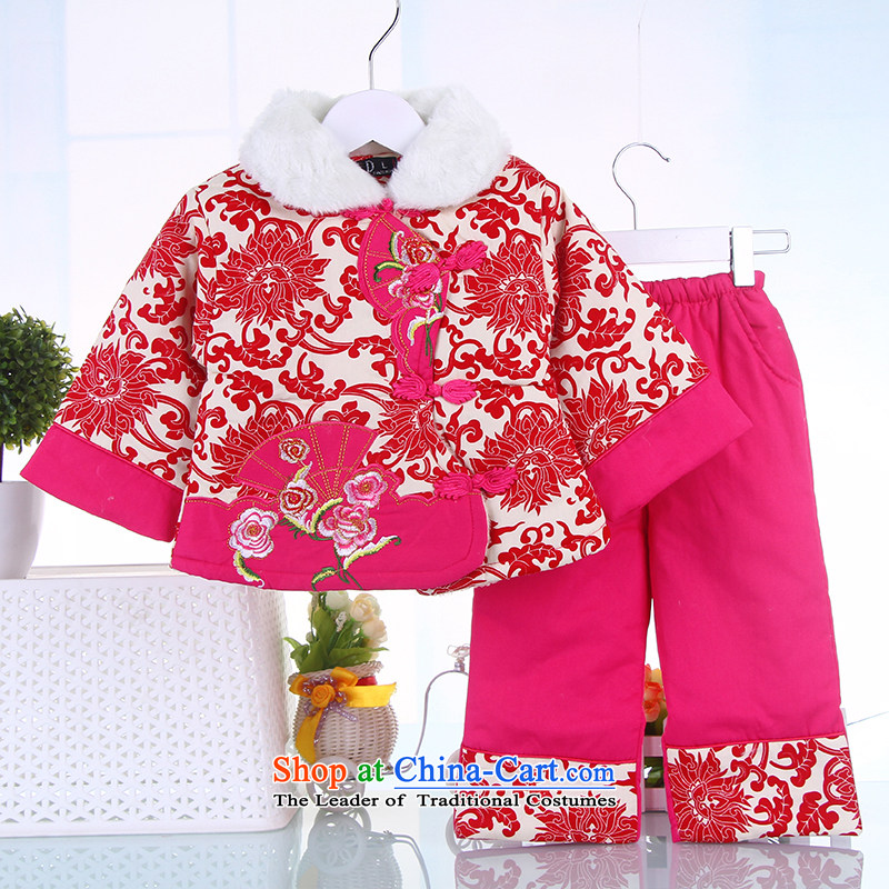 The girl child for winter New Year Children Tang dynasty women baby coat jackets with infant garment Red 100