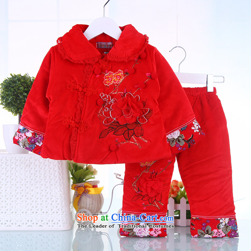 Winter clothing New Year Children Tang dynasty women baby coat jackets with infant garment Red 80