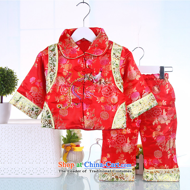 Tang dynasty dress female children's wear two kits baby during the spring and autumn the new baby is one month old age 100 days of the new year to Red 90